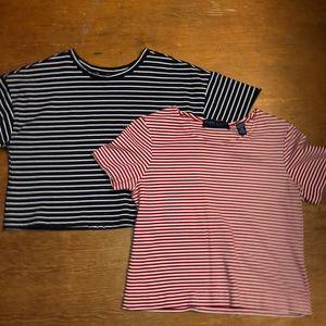 2 striped crop tops